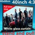 40 polegada 4:3 branco cortina puxar de tela de suporte portátil para dlp projetor hd mini projetor