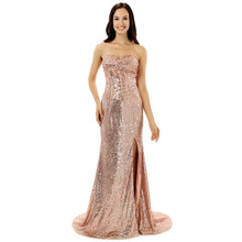 Pink Sequin Evening Dresses Long 2017 New Side Fork Mermaid Evenging