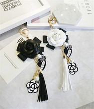 Korea Handmade PU Camellia Tassel Solid Bowknot Pearl Key chain Bag Car Pendents for Adult Women Girls Fashion Jewelry-JQKKC001E