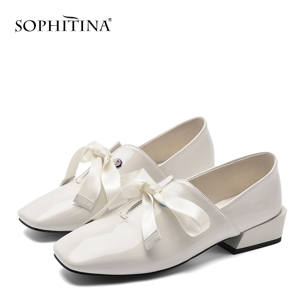 SOPHITINA New Spring Autumn Genuine Leather Women Flats Solid Riband Loafers Shoes Party Slip On Square Toe Ladies Flats PO145 in Women 39 s Flats from Shoes