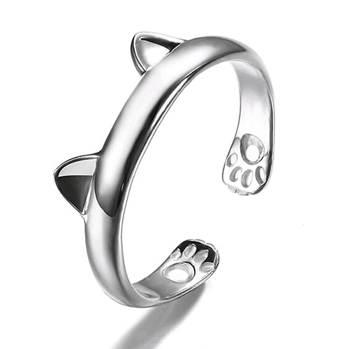 New Arrival Women's Cute Cat Ear Claw Open Ring Silver Plated Finger Animal Jewelry Fashion Leader' Choice