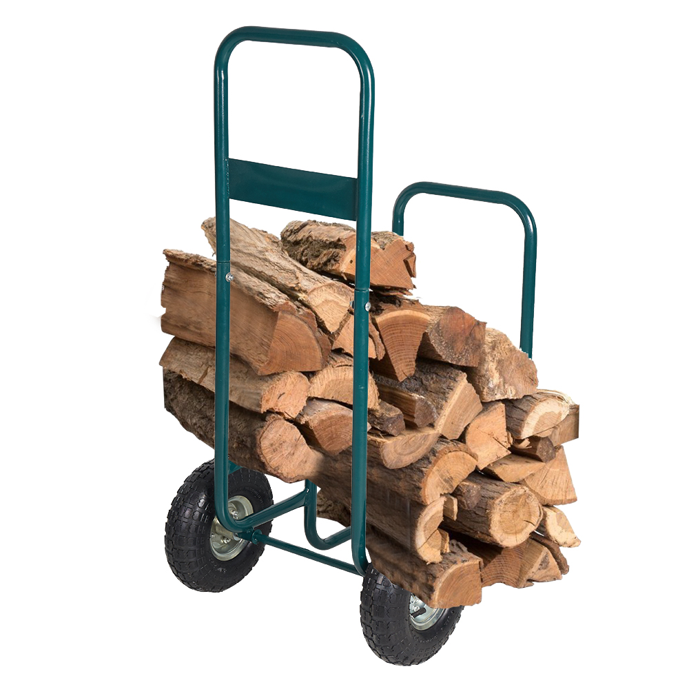 Carrier With Rolling-Wheel For Indoor Outdoor-Use Firewood Storage-Mover Log-Rack Log-Rack