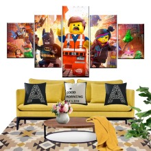 5 Pieces Lego Movie Kids Canvas Poster Wall Art Modular Pictures Home Decor For Living Room Oil Cuadros Decoracion
