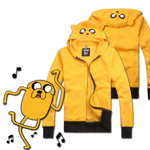 Cute Adventure Time with Finn and Jake Cosplay Costume Uniform Yellow Top Zip Up Hoodie Sweater