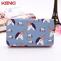 2016 New Fashion Women Wallet PU unicorn bird Women Long Brand animal  Purse Clutch Handbag Wristlet freeshipping