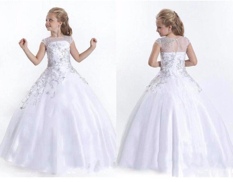 Luxury beading crystals flower girls dress kids beauty pageant dresses white/ivory long first communion dress flower girls dress girls pageant dresses infant pageant dress beading glitter first communion dresses for girls 2017 baby