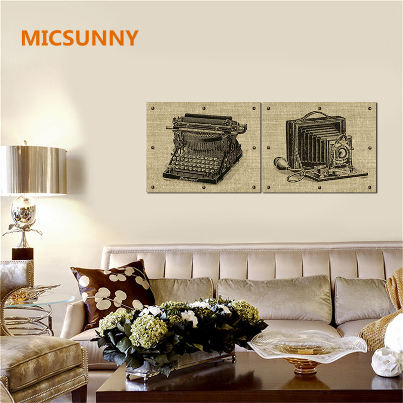 Micsunny vintage camera fax machine decoration paintings living room retro modern art home wall decor canvas prints and poster in painting calligraphy