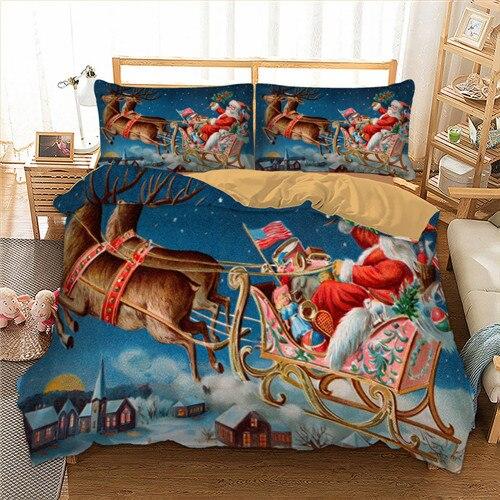 Blue Christmas bedding set deer quilt cover pillowcase Santa bedding