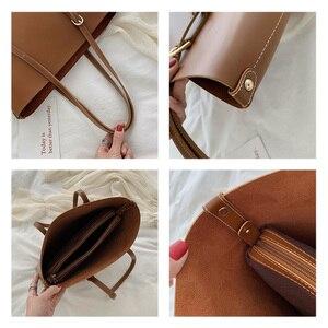 Image 4 - Moda 2 setleri pu deri lüks çanta kadın çanta tasarımcı çantaları yüksek kaliteli kadın omuzdan askili çanta ana kesesi