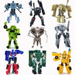 1 шт., мультипликационный трансформационный автомобиль, человек, мини-деформируемый робот, пластиковые Автомобили, самолет, фигурка, игрушк...