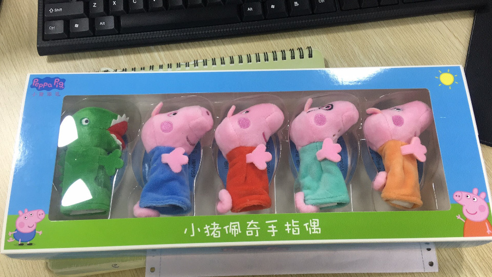 5pcs/set Original Box Genuine Peppa Pig -Peppa George Daddy Mammy Dinosaur Finger Puppet IN STOCK Children's Toy Gift Doll