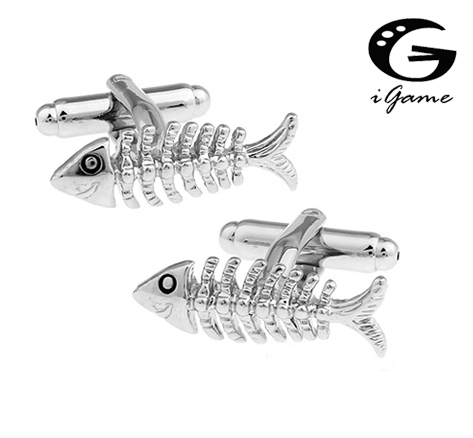 0d142a2979c IGame Preço de Fábrica Varejo Animal Abotoaduras Para Os Homens Da Moda  Material de Cobre Golden Fish Bones Projeto Ligações de Punho Frete Grátis  em Clips ...