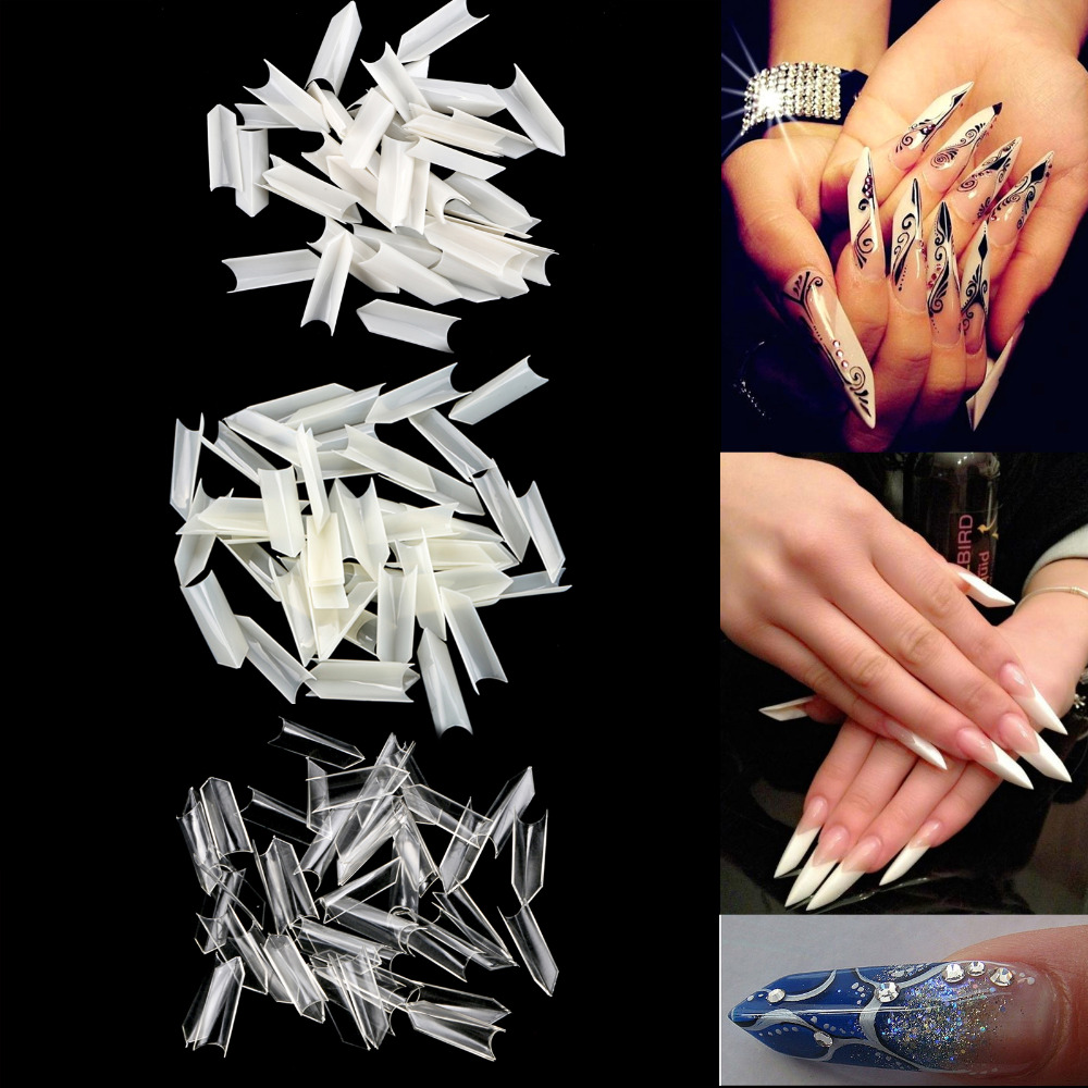 500 Pcs Nail Art Ferrari Style Triangle French Flase Tips - White Clear Natural ...