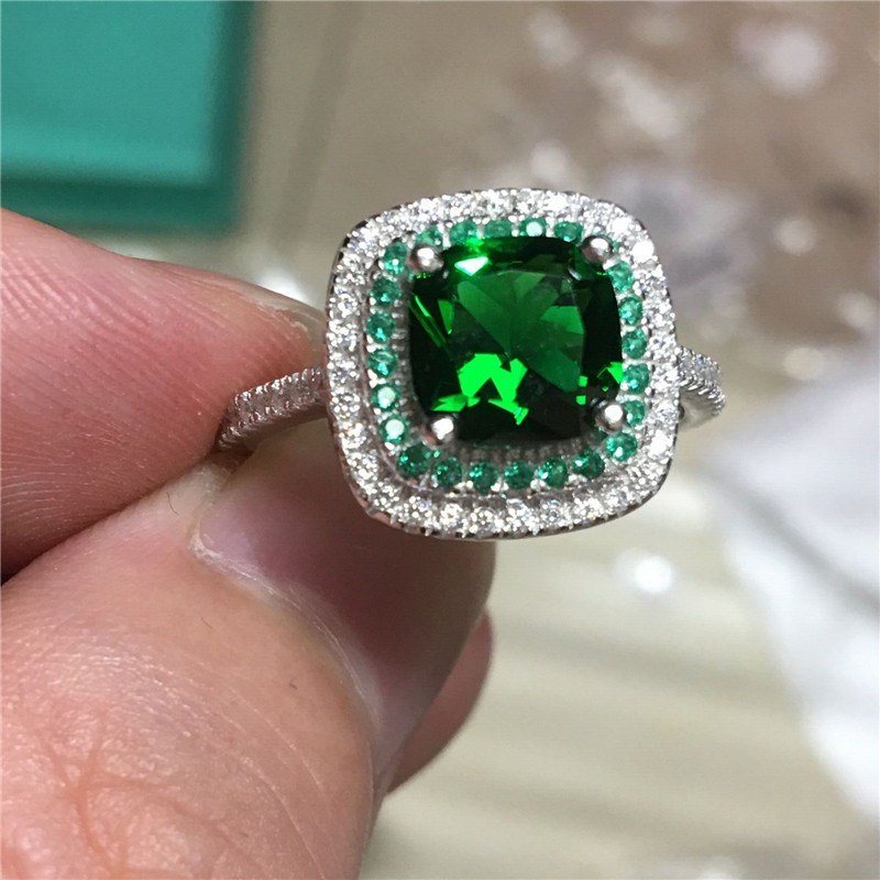 Women Fashion 100% Real 925 Sterling silver rings 3ct Green AAAAA Zircon Cz Engagement wedding band ring for women jewelry Gift men wedding band cz rings jewelry silver color anillos bague aneis ringen promise couple engagement rings for women