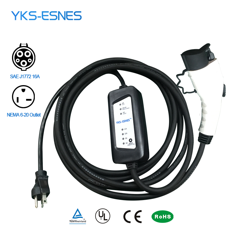 YKS-ESNES EV Portátil Carregador SAE J1772 16A 6-20 NEMA Plug 5 M Level2