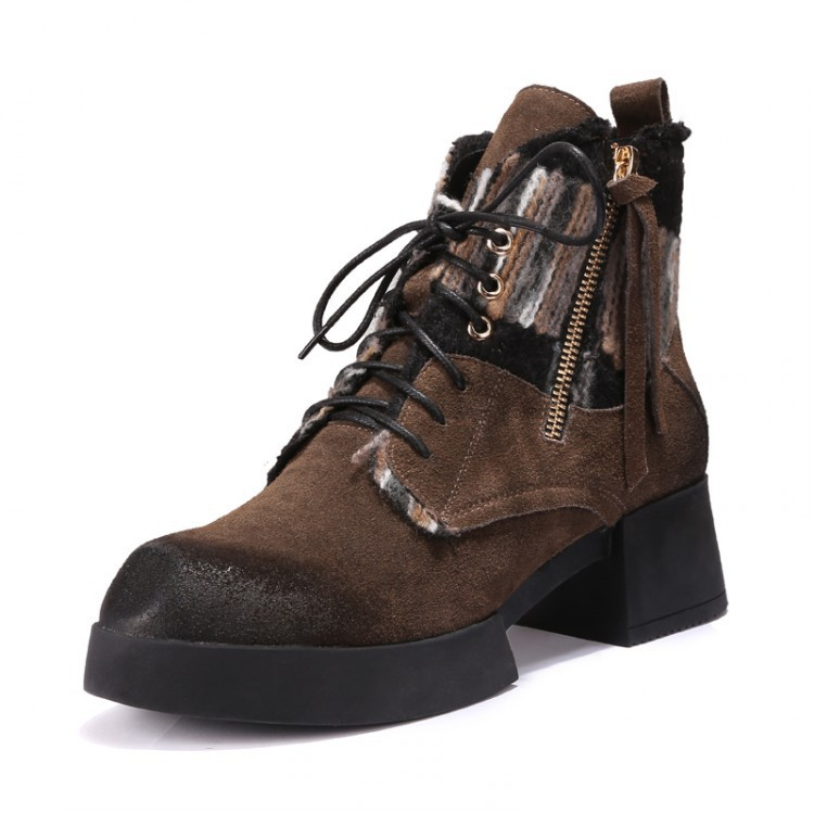 Women Autumn Winter Thick Mid Heel Platform Genuine Leather Zipper Lace Up Fashion Knight Ankle Boots Size 34-39 SXQ0811 women autumn winter genuine leather thick mid heel side zipper round toe 2015 new fashion ankle boots size 34 39 sxq0905