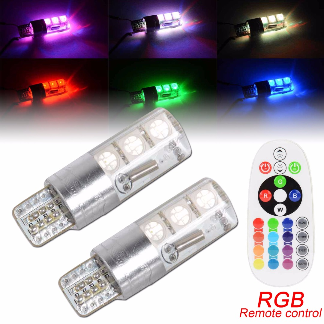 2pcs New T10 5050 6 SMD RGB LED Bulb 16 Color Car Light Lamp With Remote Controller For Most of Cars keyshare dual bulb night vision led light kit for remote control drones