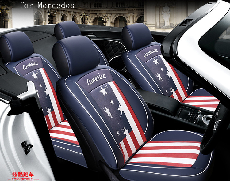 unique design flag pattern pu leather car seat cover for  Dodge Ram charger durango journey front rear full universal car car rear trunk security shield cargo cover for dodge journey 5 seat 7 seat 2013 2014 2015 2016 2017 high qualit auto accessories