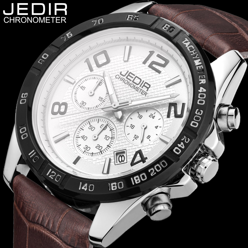 JEDIR Quartz Watch Men Fashion Leather Watches Men Wristwatch Chronograph 24 Hours Clock relogio masculino Christmas gifts O04 free drop shipping 2017 newest europe hot sales fashion brand gt watch high quality men women gifts silicone sports wristwatch
