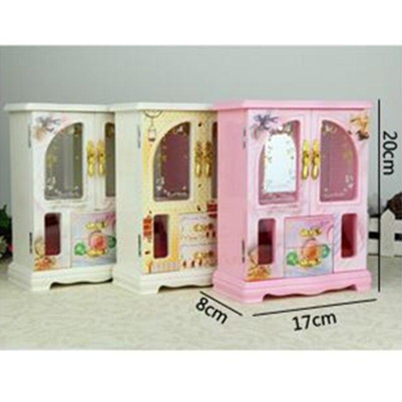 New Music Box Wardrobe Pink/Beige/White Jewelry Case Craftwork Home Desktop Decorations Birthday Gift Puzzle Toy L1813