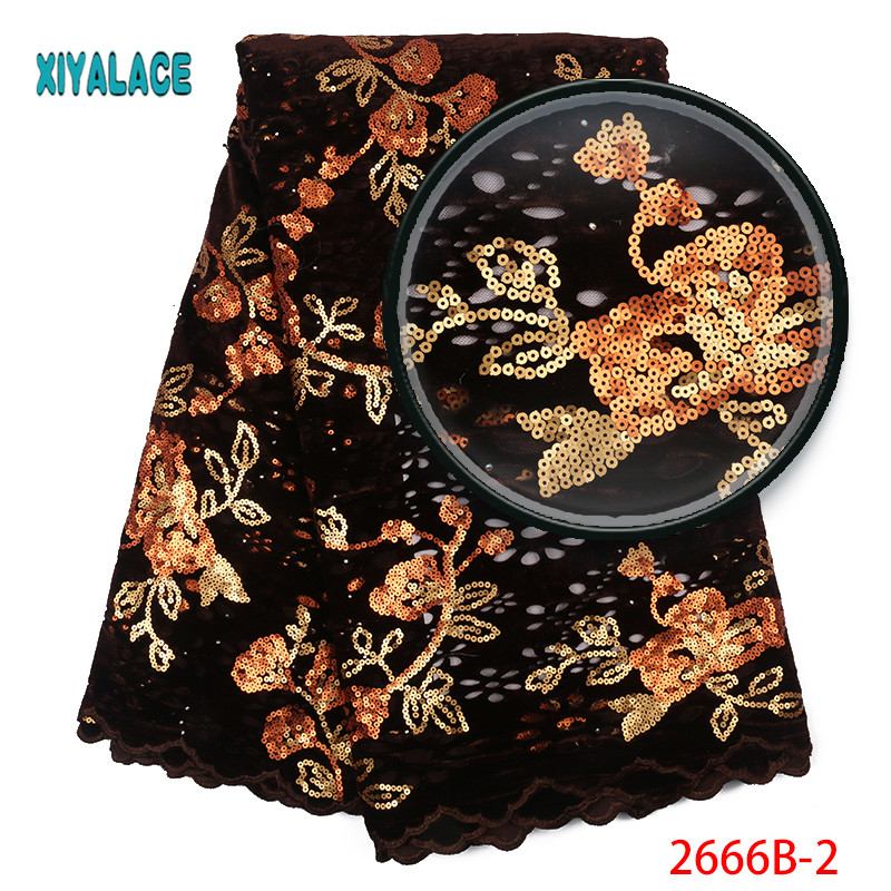 African Lace Fabric Luxury High Quality French Organza Sequins Lace Fabric 2019 Velvet Fabric Lace Fabrics For Wedding YA2666B-2