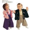 Niños Kimono japonés estilo mamelucos del bebé fijan bebé de los muchachos del mameluco de la raya Cardigan Kimono de algodón de los muchachos de la ropa del mono