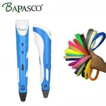 BAPASCO RP-100A 3d pluma Con 100 Metro de Filamentos ABS Segura dibujo 3D Regalo Para Niños Inteligentes Jadeando Impresión Garabateador 3D plumas