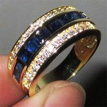 Pełny diamentowy pierścionek z szafirem dla kobiet 18k złota Bague lub Jaune Bizuteria dla biżuterii Anillos mężczyzn kamień anel biżuteria złoty pierścionek
