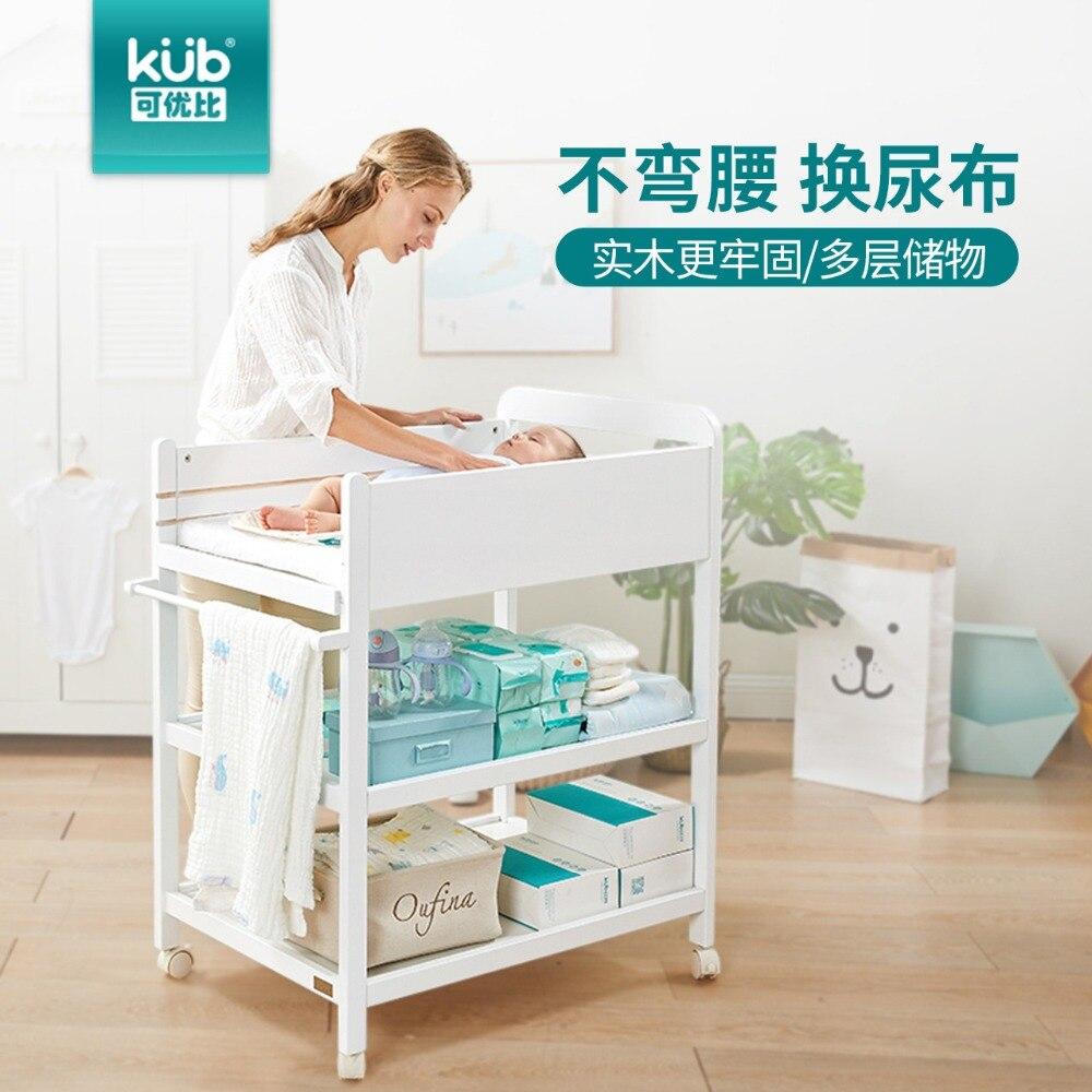 Table à couches nouveau-né table de soins en bois massif stockage stockage multi-fonction table à langer avec rouleau facile à déplacer