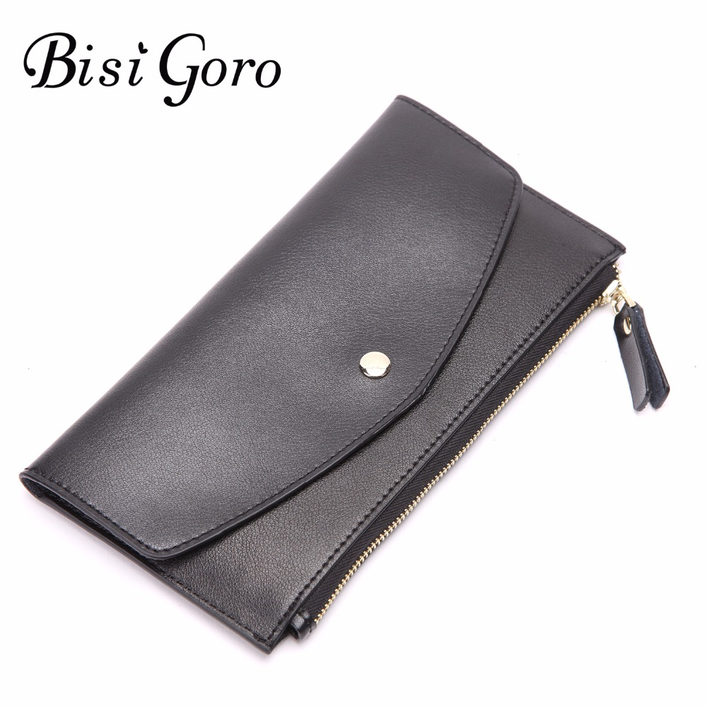 Bisi Goro 2018 New Long Wallet Women With 6 Card Holders Casual Womens Wallets And Purses Cowhide Leather Clutches Solid Zipper