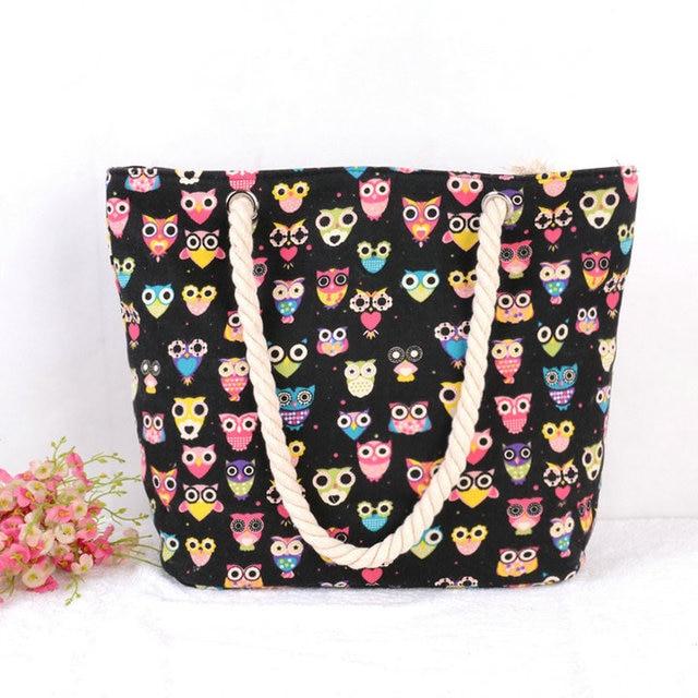 STRIPED LARGE CANVAS TOTE BAG - Women Summer Casual Cord Shoulder Bag Female Shopping Beach Handbag 4