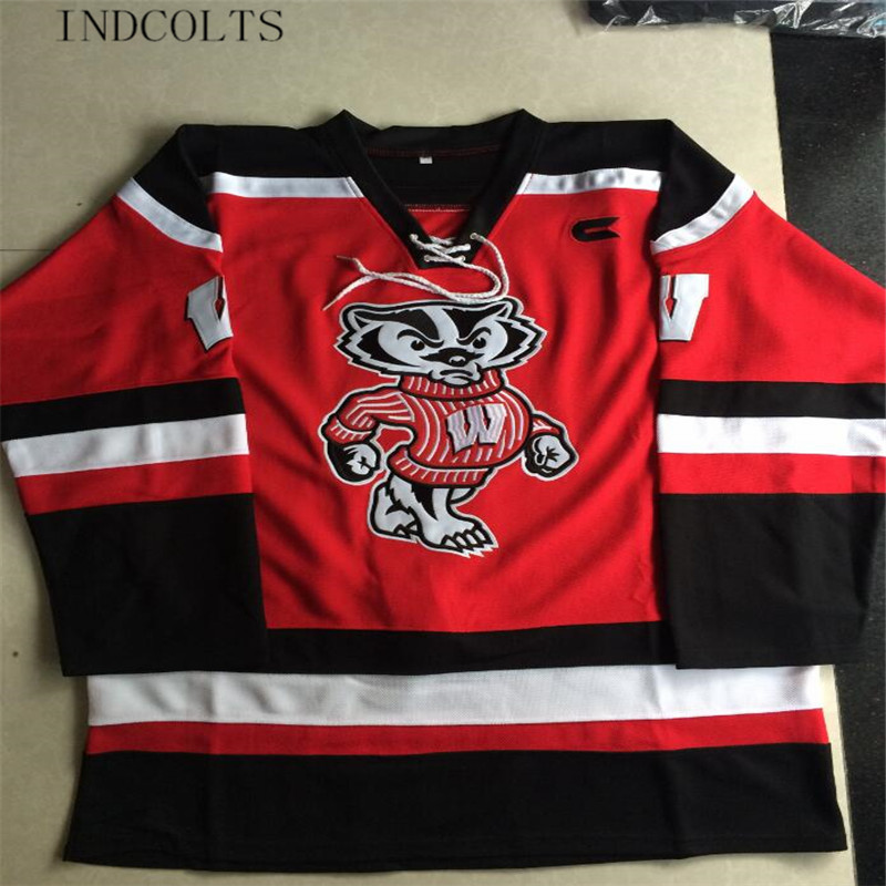 INDCOLTS Mens Wisconsin Badgers blank Hockey Jerseys adults Red Stitched Wisconsin  Badgers Jersey S-3XL 3ab509f80d2