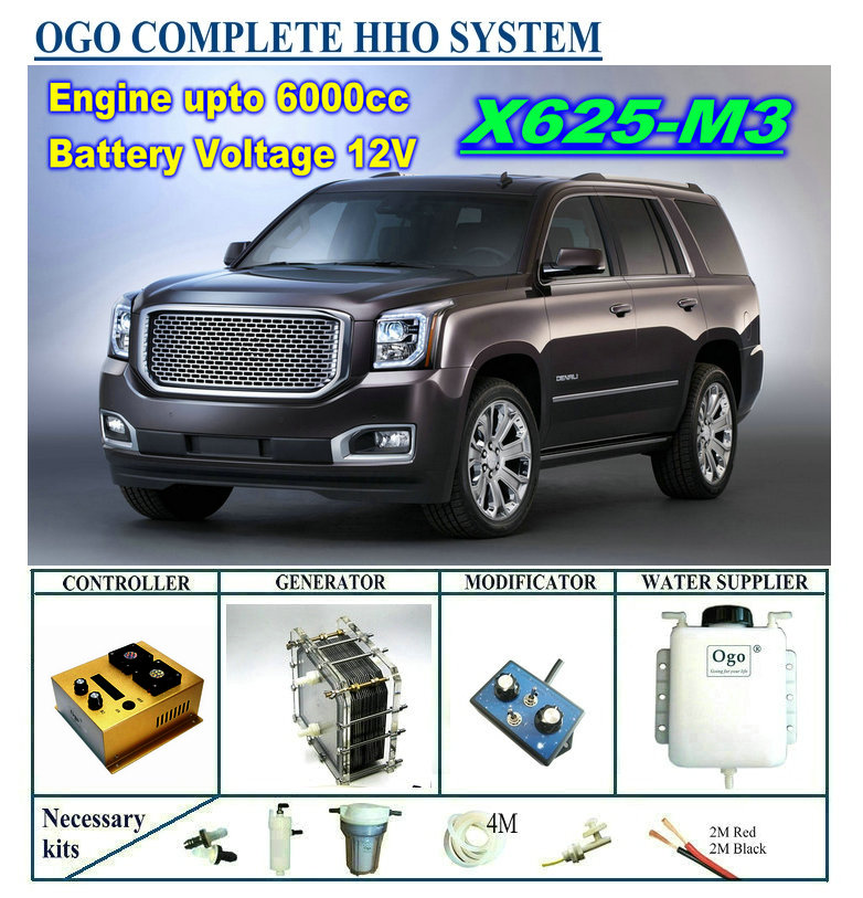 OGO Complete HHO system X625-M3 intelligent PWM controller CE&FCC MAF/MAP enhancer upto 6000CC