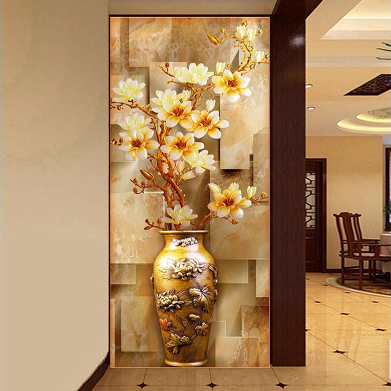 Customize Mural Wallpaper Designs Chinese Retro Painting Vase Magnolia Wall Living Room Entrance Decor Coverings
