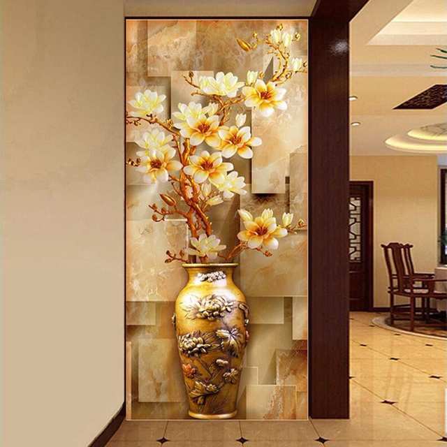 Customize Mural Wallpaper Designs Chinese Retro Painting Vase Magnolia Wall Mural Living Room