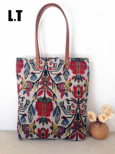2017 Handmade Women Canvas Handbags Vintage Retro Aztec Tribal Chic Bohemian Hippie Gypsy Boho Shopping Book Fabric Tote Bag