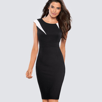 Casual Work Office Business Pencil Lady Dress Summer Elegant Color Block Patchwork Sheath Slim Bodycon Black