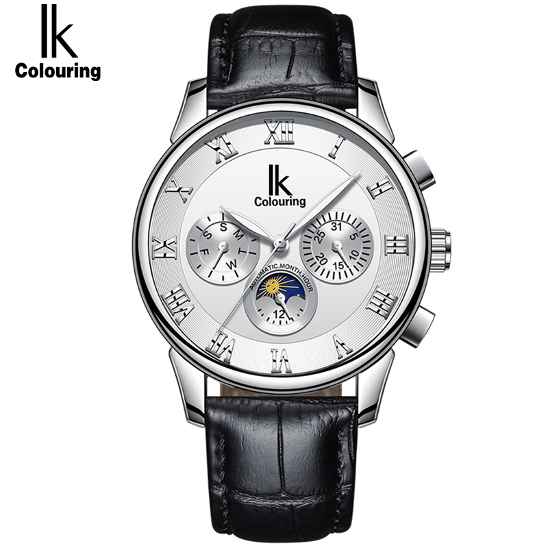 IK Colouring Fashion Luxury Luminous Men Watches Top Brand Tourbillion Three Dial Automatic Mechanical Watch Business Clock цена