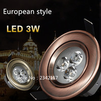 30X DHL European style Bronze/Red Copper 3W 5W 7W LED dimmable Pure White/ Cold White/Warm White Downlight Ceiling Light Lamp