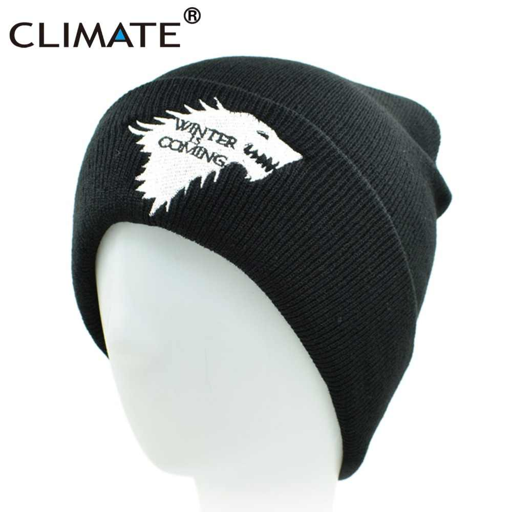 afd18d54135 Detail Feedback Questions about CLIMATE Men Beanie Hat Men Winter Hat is Coming  Game Of Thrones Hat Warm House Of Stark Dire Wolf Hat For Men Women  Teenager ...