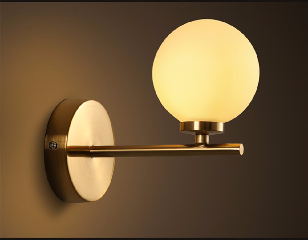 Modern Wall Lamp Glass Sconce Luminaire Ball Light Luminaria Abajur For Bathroom Bedroom Light G4 Base Home Lighting Lamparas modern wall lamp glass ball led wall sconces bedside wall light fixture bedroom luminaria home lighting vintage lamp