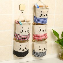 2018 New Creative Cotton Linen Wall Hanging Storage Bag Fashion Plaid Organizers Pouch Debris Storage Bag for Bedroom Bathroom banjini bathroom bagping bagping court bag patch card cotton