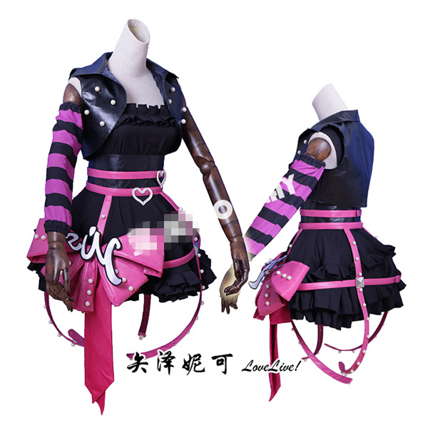 Anime 2017 Lovelive jeu d'arcade 3 Nico Yazawa Punk Cosplay Costume robe noire D