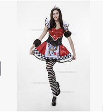Queen Of Hearts Fancy Carnival Dress Poker Queen Sexy Halloween Costume Set Dress+ Crown+sleeve+cloak For Ladies Cosplay Clothes