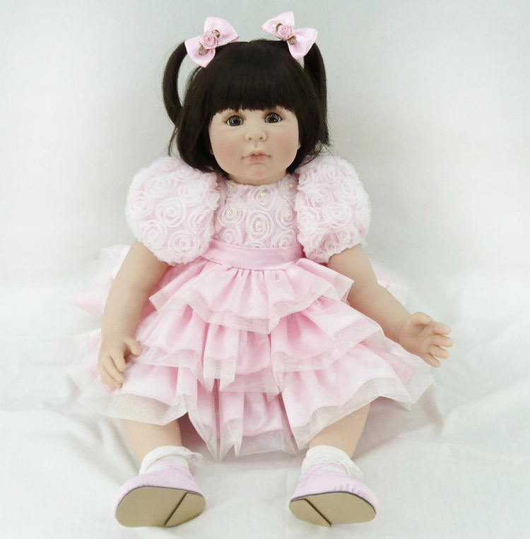60cm Silicone Reborn Baby Like Real Doll Toy 24inch Vinyl Princess Toddler Girl Babies Doll Birthday Gift Present Toy Present new fashion design reborn toddler doll rooted hair soft silicone vinyl real gentle touch 28inches fashion gift for birthday