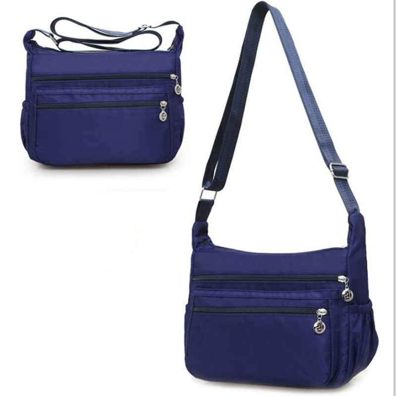 Famous Brand Design Women Messenger Bags Nylon Casual Shoulder bag Floral Handbags Three Zipper Crossbody Bag for Woman concise nylon and solid color design crossbody bag for women