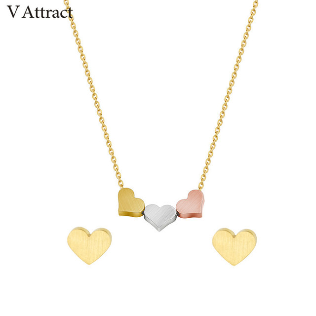 V Attract Stainless Steel Heart Statment Necklace Jewelry Set For Women Bijoux Mariage Fashion Gold Filled Choker Stud Earrings