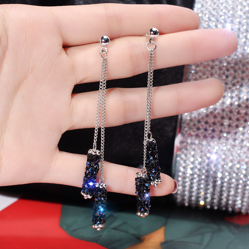Korea high end creative blue imitation rhinestone tassel earrings temperament long geometric earrings