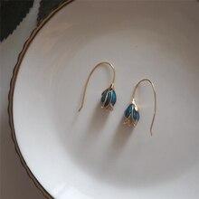 Sole Memory Blue Enchantre цветок литературный простой сладкий романтический 925 пробы серебряные Модные женские длинные серьги SEA539