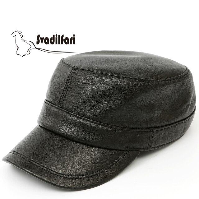 Quepe de couro fino moda masculina tendência quente cap chapéu de pele de  carneiro único ao 5246725109c